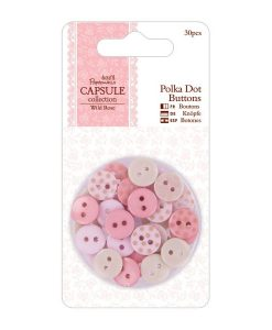 Bottoni Polkadots Rosa Pink 10mm Scrapbook