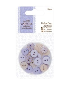 Bottoni Polkadots Lilla Lavanda 10mm Scrapbook