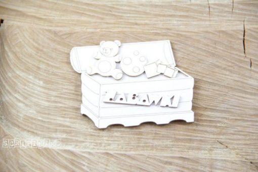 Cassapanca con Giocattoli Fustellata Cartoncino Pressato Scrapbook Chipboard Die-Cut