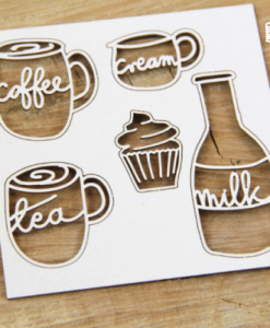 Caffè Latte Fustellato Scrapbook Chipboard Die-cut