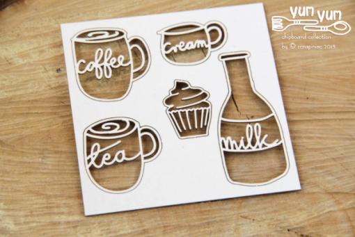 Caffè Latte Fustellato Scrapbook Chipboard Die-cut