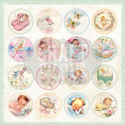 Hello Baby Cartoncino Stampato neonati Scrapbook