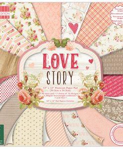 Love Story (30,5 x 30,5cm) - Bloccheto Cartoncino da 48 fogli Trimcraft Italia Love Story Paper Pad Bloccheto Scrapbook Cartoncino