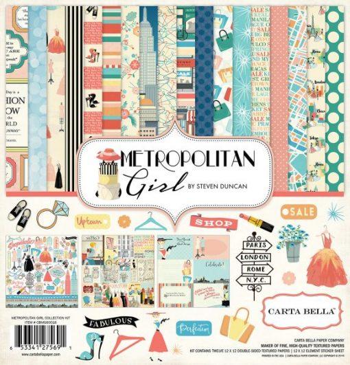 Metropolitan Girl Cartoncino Stampato Adesivi Scrapbooking Italia Carta
