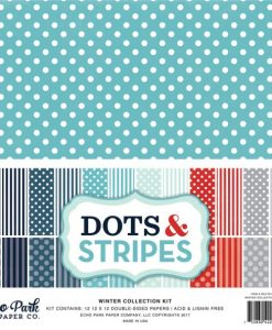 Winter Collection Dots & Stripes - Cartoncino 12x12""