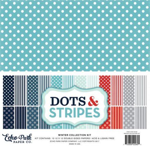 """Winter Collection Dots & Stripes - Cartoncino 12x12"""""""