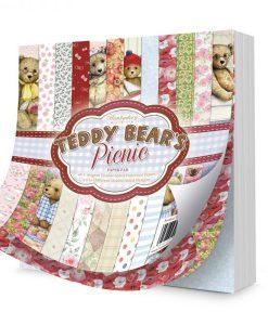 """Blocchetto Cartoncino Stampato - Teddy Bear's Picnic (8x8"""") Hunkydory Italia Orsacchiotti Carta Stampata"""