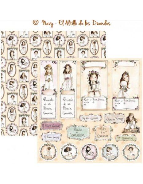 """Mi comunion (Comunione) 02 - Cartoncino 12x12"""" Scrapbooking El Altillo de los Duendes Italia"""