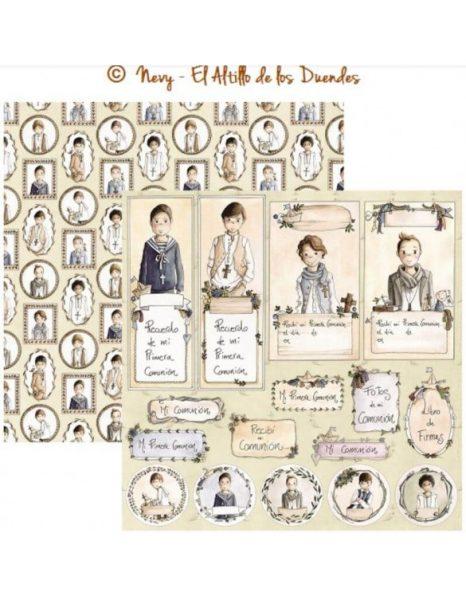 Mi comunion (Comunione) 05 - Cartoncino 12x12 Scrapbooking El Altillo de los Duendes Italia