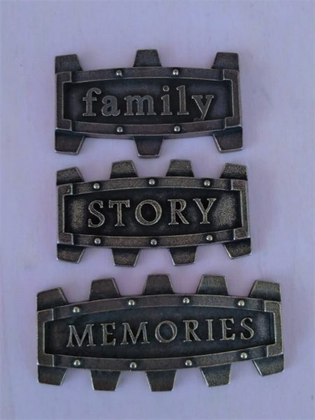 Set di placchette Family - abbellimento in metallo (3 pezzi)