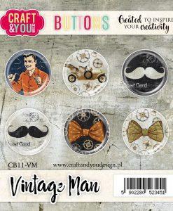Bottoni Decorativi Vintage Man (6 pezzi)
