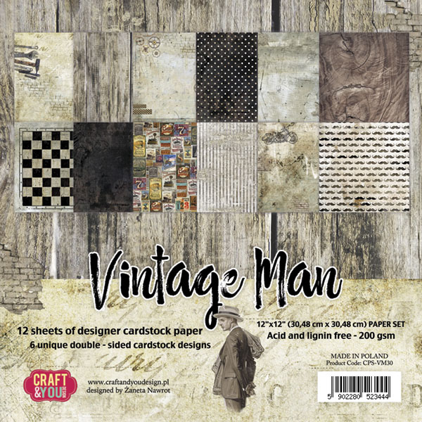 Vintage Man - Blocchetto Cartoncino 12x12