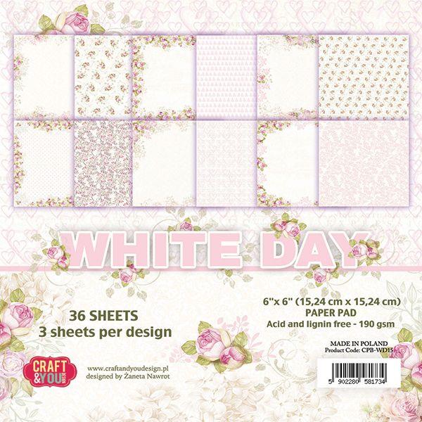 White Day - Blocchetto Cartoncino 6x6