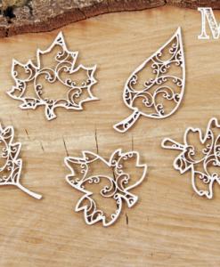 Foglie decorate - elemento fustellato (5 pezzi)