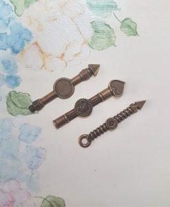 Lancette orologio 5cm - abbellimento in metallo (3 pezzi)