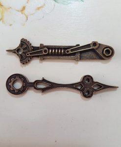 Lancette orologio 6cm - abbellimento in metallo (2 pezzi)