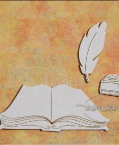 Libro e piuma - elementi fustellati