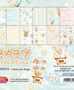 """Baby Adventure - Blocchetto Cartoncino 6x6"""" (36 fogli)"""