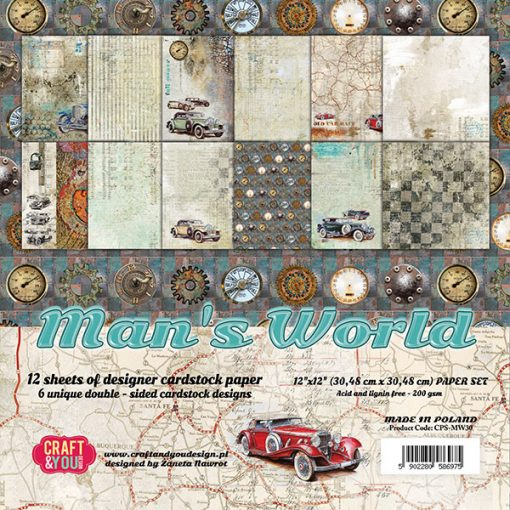 "Man's World - Blocchetto Cartoncino 12x12"" (12 fogli)"