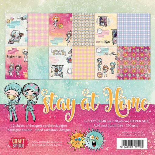 "Stay at Home - Blocchetto Cartoncino 12x12"" (12 fogli)"