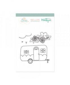 Caravana con flores - Timbro (5 pezzi)