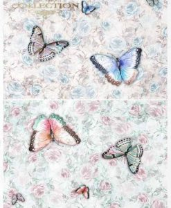 Farfalle e rose - Carta di riso A4