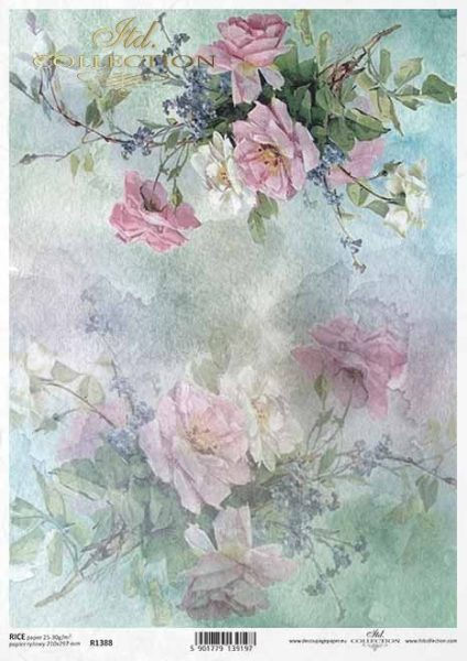 Fiori e foglie - Carta di riso A4