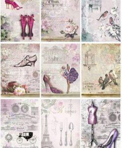 Foglio di tags A4 - Scarpe e fiori