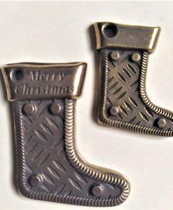 Calza di natale 2 - abbellimento in metallo (2 pezzi)