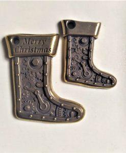 Calza di natale 3 - abbellimento in metallo (2 pezzi)