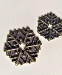 Fiocco di neve 2 - abbellimento in metallo (2 pezzi)
