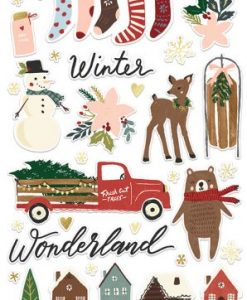 Winter Cottage Simple Stories - Adesivi in chipboard (37 pezzi)