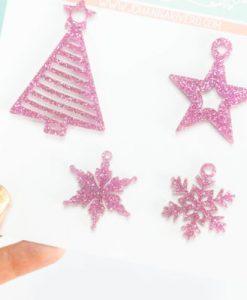 Albero e stelle di Natale Rosa - Set di abbellimenti in metacrilato