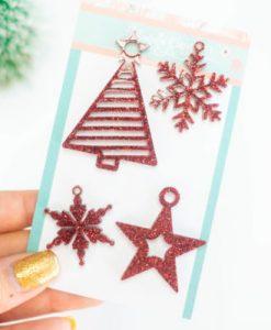 Albero e stelle di Natale Rosso - Set di abbellimenti in metacrilato