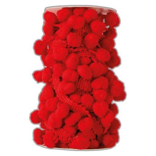 Bobina di filo con pom pom Docrafts - Rosso (3m)