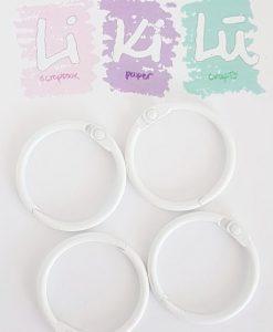 Set di anelli in metallo 30mm - Bianco (4 pezzi)