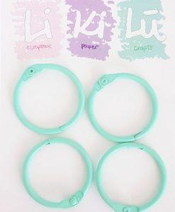 Set di anelli in metallo 30mm - Mint (4 pezzi)