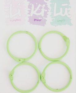 Set di anelli in metallo 30mm - Verde pastello (4 pezzi)