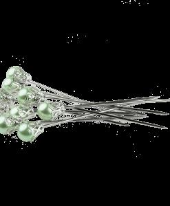 Set di spilli con testa - Verde pastello (5 pezzi)