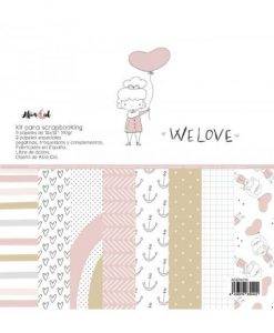 Kit completo We Love Alúa Cid - Blocchetto Cartoncino 12x12 e abbellimenti