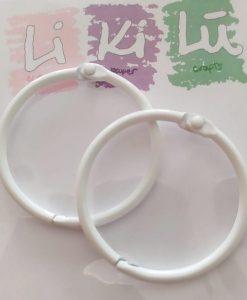 Set di anelli in metallo 45mm - Bianco (2 pezzi)
