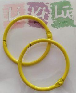 Set di anelli in metallo 45mm - Giallo (2 pezzi)