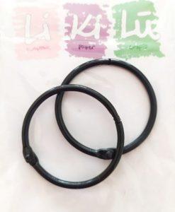 Set di anelli in metallo 45mm - Nero (2 pezzi)