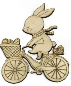 Coniglietto e bici Fridita - Abbellimento in legno 10cm