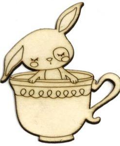 Coniglietto e tazza Fridita - Abbellimento in legno 10cm