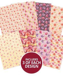 Falling Flowers Adorable Scorable Hunkydory - Cartoncino A4 (24 pezzi)
