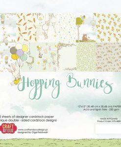 Hopping Bunnies - Blocchetto Cartoncino 12x12 (12 fogli)