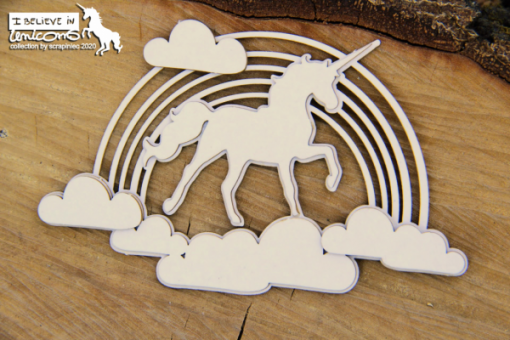 Believe in Unicorns Decor Scrapiniec - chipboard