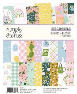 "Bunnies + Blooms Simple Stories - Blocchetto cartoncino 6x8"""