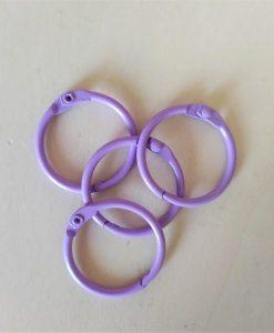 Set di anelli in metallo 30mm - Lilla (4 pezzi)